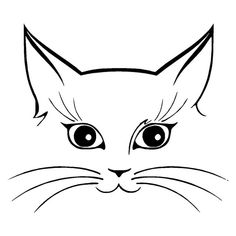 Arts And Crafts Store Simple Cat Drawing, Cat Face Drawing, Cat Clipart, Cat Vector, Cute Cat Face, Cat Tattoo Designs, Cat Template, Cat Quilt, Cat Silhouette