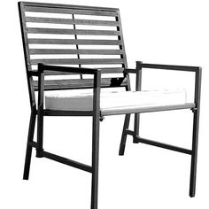 Folding Slatted Black Iron Garden Chair, Size Single, Patio Furniture