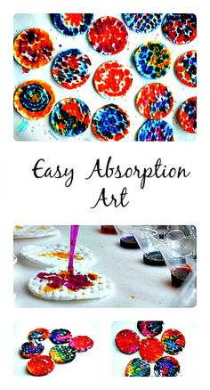 Easy absorption art with liquid watercolors. Great for toddlers