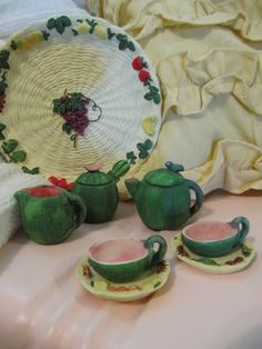 Miniature Tea Set  Collectors Vintage, Tray & Saucers in White/Yellow w Fruits & Veggies, The Other in All Green w Pink/Red Inside, Tray Teapot w Lid, Sugar w Lid, Creamer, Two Cups w Two Saucers.
