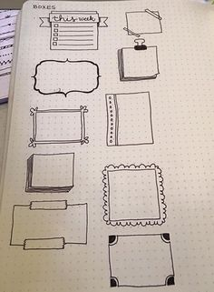 Frames For Accessorizing Bullet Journal Planner Pages Bullet Journal Boxes, My Journal, Bullet Journal Inspiration, Journal Pages, Journal Ideas, Sketch Notes, Smash Book, Doodles, Writing