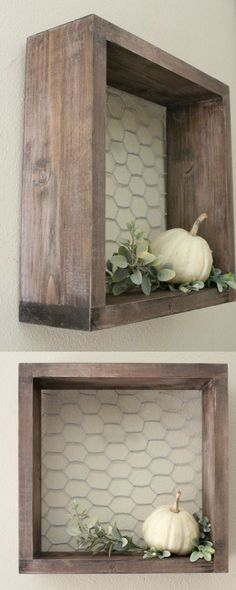 Chicken Wire & Wood Shelf, Farmhouse Decor, Wall Shelf, Squar… - Home Professional Decoration Farmhouse Christmas Decor, Modern Farmhouse Decor, Rustic Decor, Farmhouse Frames, Farmhouse Style Decorating, Kitchen Wall Shelves, Wall Shelf Decor, Wood Shelf, Decorative Wall Shelves