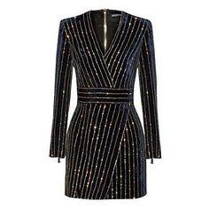 Amazon.com: Star Han False Long Sleeve Deep V-Neck Sequins Club Dress (Small): Clothing