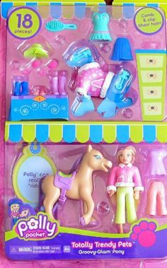 """POLLY POCKET Totally Trendy Pets GROOVY GLAM PONY 18+ Piece Set w POLLY DOLL, PONY & Fashions! (2006) by Mattel. $48.99. INCLUDES: POLLY Doll approx. 3-3/4"""" tall w/blonde combable Hair, a tan color Horse (PONY) approx. 3-1/2"""" tall x 3"""" wide w/combable purple hair Mane & Tail, & for PONY a pink & white Top, & for POLLY DOLL a pink & white Jacket style Top, a Pair of green color Pants, a Pair of pink Pants, a Purple Dress/Top, a green w/pink trim Dress, a purple ..."""