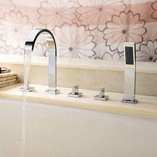 robinet de baignoire en laiton avec douche à main - fini chrome