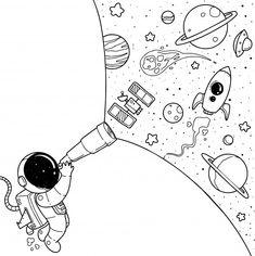 art dibujos Cute astronaut cartoon Premium Ve - art Space Drawings, Cool Art Drawings, Art Drawings Sketches, Cartoon Drawings, Easy Drawings, Art Sketches, Cartoon Cartoon, Cute Doodle Art, Doodle Art Drawing