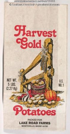 Harvest Gold potato bag, Monticello, 1975. Item # 16060 on Maine Memory Network
