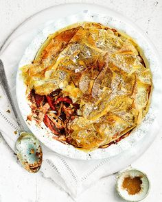 Use a ready-roast chicken, or leftover chicken from your Sunday roast, to make this easy and flavoursome filo pastry pie. Leftover Chicken Recipes, Yummy Chicken Recipes, Leftovers Recipes, Yummy Food, Delicious Dishes, Pastry Recipes, Pie Recipes, Healthy Recipes, Savoury Recipes