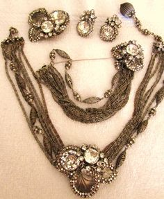 Vintage Miriam Haskell 4 Piece Parure by NobleVintageStore on Etsy, $3500.00