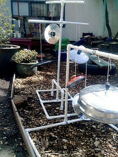 From the wonderful teachertomsblog.blogspot.com comes this modular sound garden installation made from PVC pipe and pot lids. This sort of simple installation is perfect for any child care or ECE setting.  Cheap, safe and lots of fun.