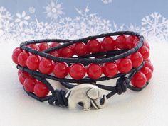 Flamenco... Leather wrap bracelet... Original by OceanBead on Etsy