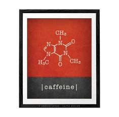 Caffeine print coffee lover gift coffee print coffee gift coffee poster caffeine molecule caffeine poster kitchen wall art science gift for him Presents For Him, Fathers Day Presents, Science Gifts, Science Art, Coffee Lover Gifts, Gift For Lover, Retro Poster, Coffee Poster, Red Art