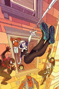 Spider Gwen: Ghost Spider variant cover by Afu Chan * Marvel Spider Gwen, Marvel Memes, Marvel Dc Comics, Marvel Avengers, Ms Marvel, Captain Marvel, All Spiderman, Amazing Spiderman, Univers Marvel