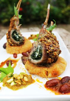 Pistachio crusted lamb chops stuffed with spinach and feta cheese Lamb Recipes, Gourmet Recipes, Cooking Recipes, Gourmet Food Plating, Crusted Rack Of Lamb, Lamb Loin Chops, Lamb Dishes, Meat Appetizers, Spinach And Feta
