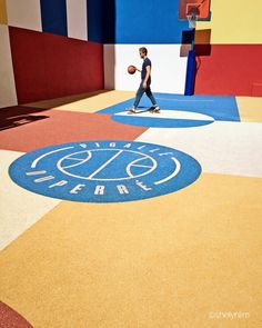 Boldest basketball court in Paris. Designed by #Pigalle