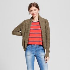 Women's Cable Cocoon Cardigan - Mossimo Supply Co. Olive (Green) M, Size: Medium
