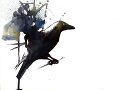 Raven #3, Watercolor on paper, by Krislyn Dillard