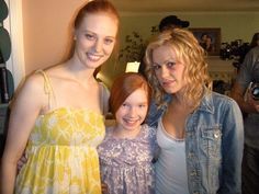 Annalise Basso, Debra Ann Woll and Anna Paquin on the set of