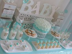 Pastel teal owl baby shower party! See more party planning ideas at CatchMyParty.com!