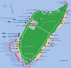 Map of Cozumel, Mexico Cozumel Mexico, Cancun, Cozumel Diving, Scuba Diving, Caribbean Vacations, Caribbean Sea, Mexican Holiday, Alaska Cruise, City Maps