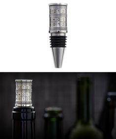 Wine Stopper with Date Stamp features adjustable day and month settings so you can keep track of when a bottle was opened.