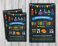 SUPERHERO LEGO Personalised Invitation Avengers Birthday Party Supplies Invite in Home & Garden, Parties, Occasions, Greeting Cards & Invitations | eBay
