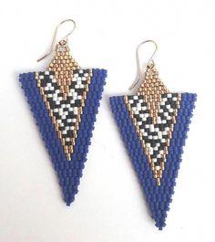 Brick Stitch Earrings, Seed Bead Earrings, Blue Earrings, Beaded Earrings, Drop Earrings, Seed Beads, Beaded Bracelet Patterns, Beading Patterns, Groomsmen