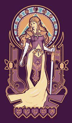 Zelda Nouveau Framed Art Print by Megan Lara   Society6