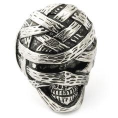 EnM Jewelry Men's Stainless Steel Ring Mummy Skull Punk Biker's Band Vintage, Silver/Black 8