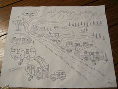 Items similar to Vintage RV Trailer Lot in the Mountains whimsical embroidery to do Embroider on Etsy Learn Embroidery, Embroidery For Beginners, Hand Embroidery Patterns, Vintage Embroidery, Cross Stitch Embroidery, Cross Stitch Patterns, Machine Embroidery, Shirt Embroidery, Floral Embroidery