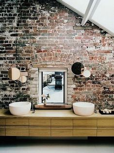 Brick wall...27 Absolutely Gorgeous Bathroom Design Ideas With Brick Walls