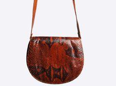 70s Boho SNAKESKIN Leather PURSE / 1970s by twinheartsvintage