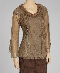 Take a look at this Brown Lace Linen-Blend Top by Pretty Angel on #zulily today! These come in three different colors. I want all of them. I just love this design. Wore something like this in the 60's.
