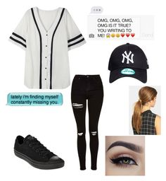 """""""When he's a baseball player❤️❤️"""" by kayy2558 ❤ liked on Polyvore featuring Topshop, Converse and Ficcare"""