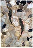 A few rainbow trout-shaped mosaic tiles in a slice pebble rock installation can be used vertically on a wall, or on any rock/pebble floor to bring a bit of movement to a lifeless rock installation.
