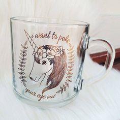 """""""I want to poke your eye out"""" says the sweet unicorn coffee tea mug Real Unicorn, Unicorn Glass, Unicorn Cups, Unicorn Coffee, Unicorns And Mermaids, Cute Cups, Mug Shots, Tea Mugs, Mug Cup"""