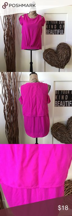 Juicy Couture cold shoulder top Fuchsia cold shoulder top has banded waist in the front and layered back.  So pretty! Juicy Couture Tops