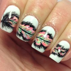 Beautiful feather nails