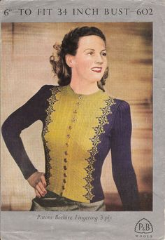 """Patons 602 Afternoon Coat (round or V neck) - 34"""" Bust - Vintage 1940s knitting pattern download"""