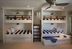 Exquisite traditional kids ceilng fan features trundle bed, built in bunk beds and bunk room. Kids blue and white collection of bunk ladder paired loft bed with nautical lighting., 22 designs in Bunk Beds Trundle gallery