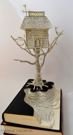 Book Paper Art Sculpture Tree of Life Custom order - Sculpture - Print the sulpture yourself - Haunted Hotel Book Art Book Sculpture Altered Book Folded Book Art, Paper Book, Book Folding, Paper Art, Cut Paper, Paper Folding, Paper Cutting, Book Crafts, Paper Crafts