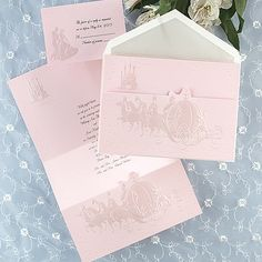 Embossed in pink, ew, if only it were in blue!    Dreams Come True In Pink - Invitation