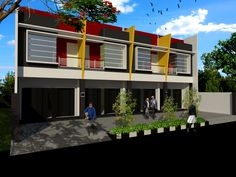 60 Desain Ruko 2 Lantai Minimalis dan Modern | Desainrumahnya.com Commercial Design, Building Design, House Plans, Cool Designs, Floor Plans, House Design, Mansions, Architecture, House Styles