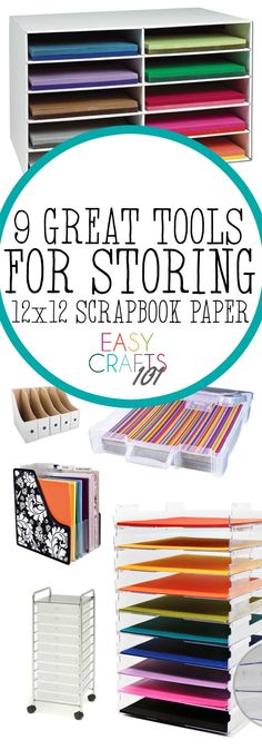 Here are nine great ways to store scrapbook paper - you'll love the helpful tools for organizing your paper in this post!