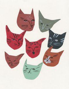 Kaye Blegvad is wonderful.  Cat faces illustration print by kayeblegvad on Etsy.