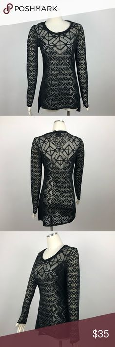 Nicole Miller Tunic Mesh Sheer Long Sleeves Top S Nicole Miller Women's Tunic S black  Mesh Sheer Long Sleeves Top Size small F   Measurements:    Bust:17''    Total length:29'' Nicole by Nicole Miller Tops Camisoles