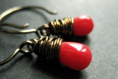 Hey, I found this really awesome Etsy listing at https://www.etsy.com/se-en/listing/109320277/bronze-earrings-red-coral-earrings