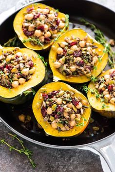 Instant Pot Stuffed Acorn Squash with Wild Rice, Cranberry, Mushroom and Chickpeas. A healthy, filling vegetarian or vegan meal that's so easy and delicious! {vegan, gluten free} via Zucchini Muffins, Zucchini Squash, Egg Muffins, Zucchini Noodles, Butternut Squash, Instant Pot, Vegetarian Recipes, Cooking Recipes, Vegetable Recipes