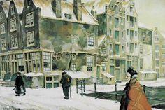 Amsterdam street Dutch Artists, French Artists, Famous Artists, Spanish Painters, Dutch Painters, Cubist Movement, Anton Pieck, Guernica, Christmas Town