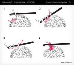 Disminució / Disminución / Decrease #BruDiy #ganchillo #crochet #tutoriales
